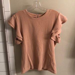 Pink ruffled sleeve top